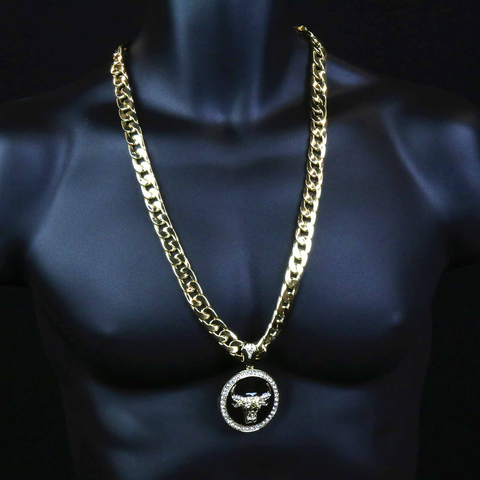 CUBAN CHAIN & BRACELET GOLD/BLACK BULL