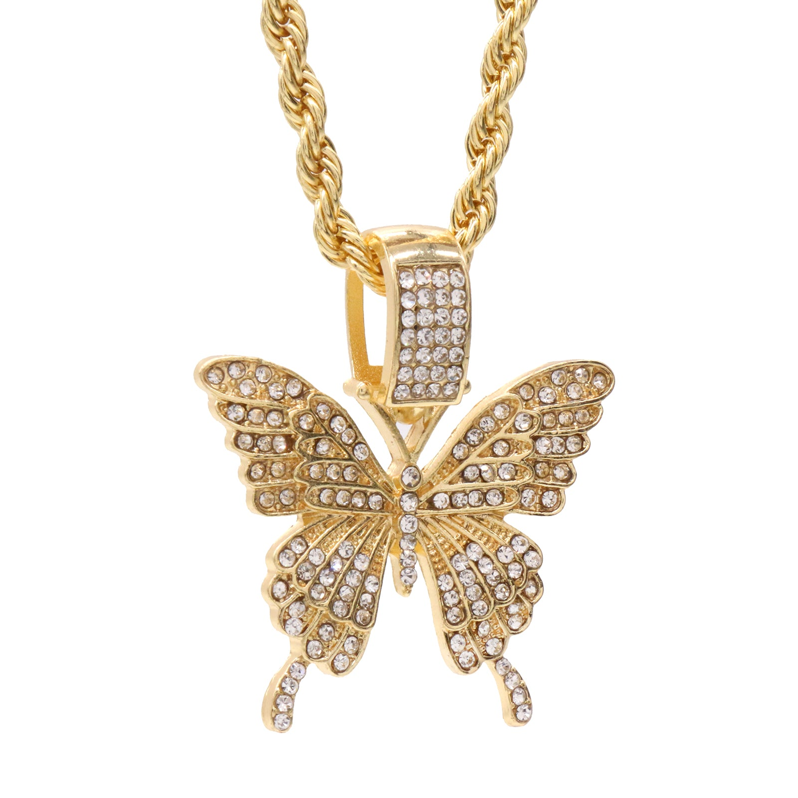 "Cz Butterfly Pendant 24""Inch 4mm Rope Chain"