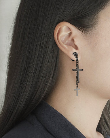 2 Cross Dangle Skeleton Hand Black SST Plain Earring