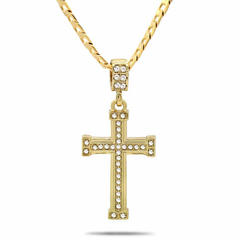 The Cz Staple Edge Cross Necklace 11