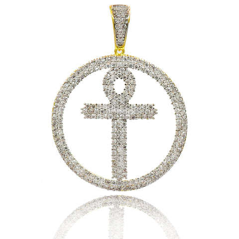 CZ ANKH PENDANT WITH FREE CHAIN AND EARRINGS