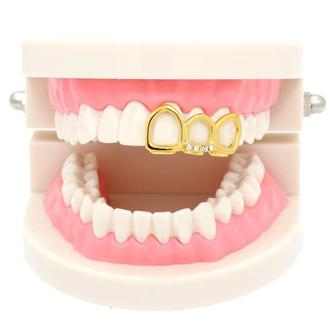 GOLD TOP GRILLZ  3 TOOTH OPEN