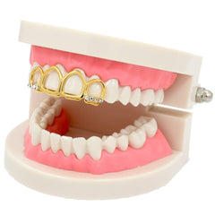 GOLD TOP GRILLZ 4 OPEN TOOTH ICED OUT