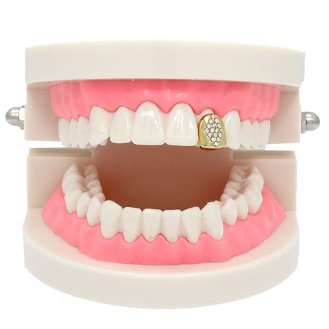GOLD GRILLZ SINGLE DIAMOND