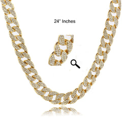 "Real Gold Filled Cuban FULLY Cz Chain Necklace 15mm 24"" Inches"