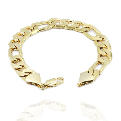 "12MM/9""INCHES  14K GOLD FINISH FIGARO LINK BRACELET"