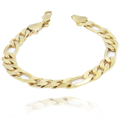 "11MM/9""INCHES 14K GOLD FINISH  WIDE FIGARO LINK BRACELET"