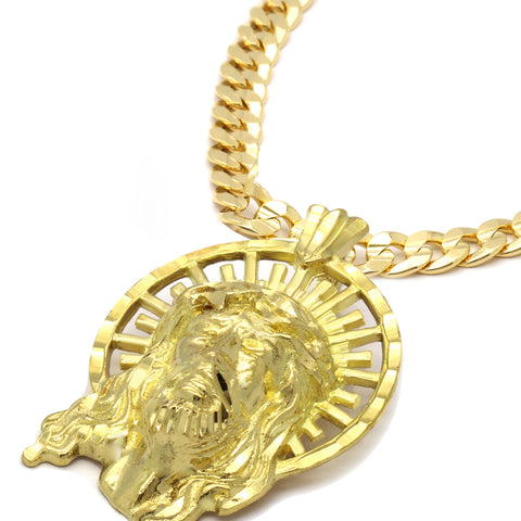 14K GOLD PLATED JESUS W/ CROWN PENDANT/CHAIN