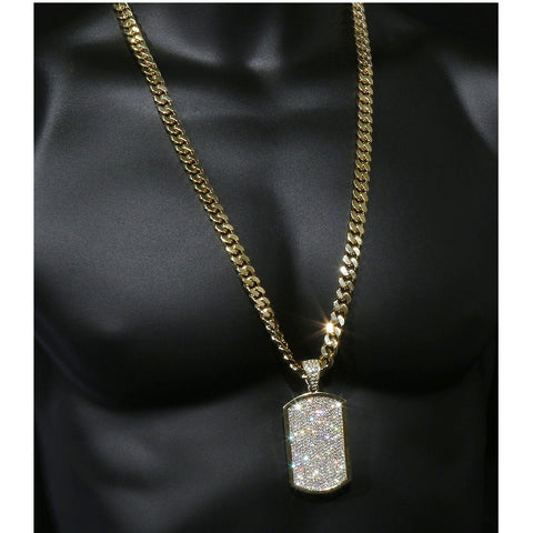 Gold Dog Tag Cz NECKLACE