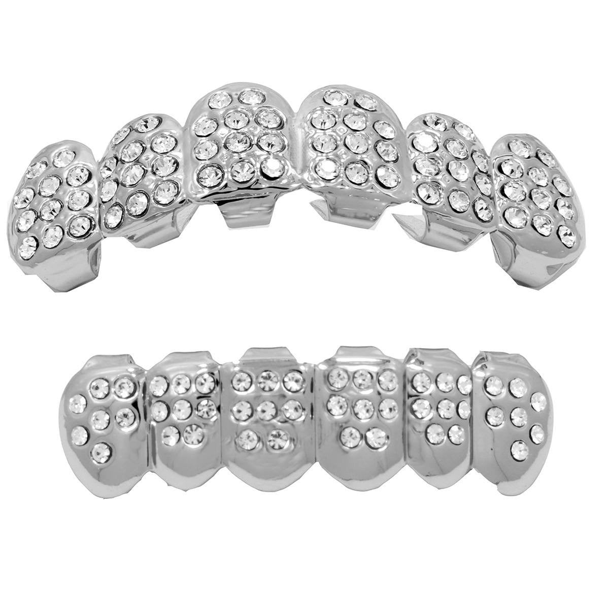 GRILLZ SET SILVER FULLY ICED KINGSTAR