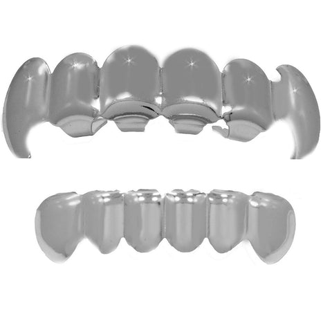 GRILLZ SET SILVER FANG PLAIN KINGSTAR