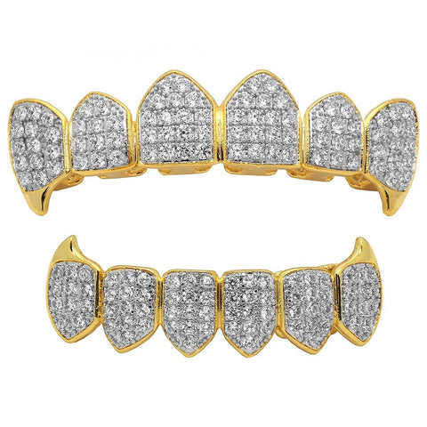 GRILLZ SET 2 TONE FANG FULLY ICED OUT