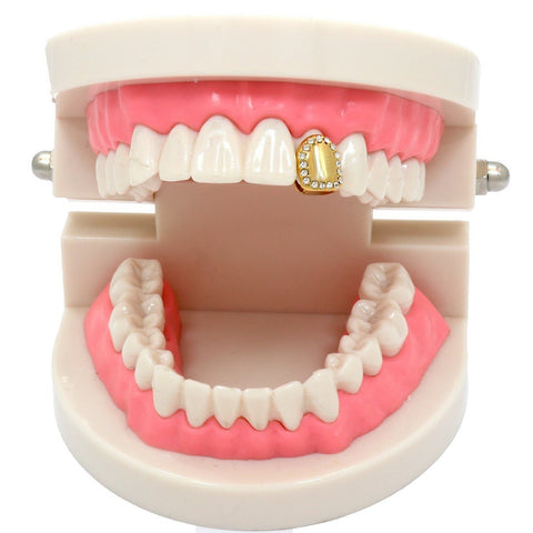 GOLD GRILLZ SINGLE TOOTH STONE EDGE