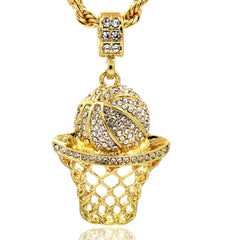 BASKET CZ PENDANT WITH GOLD ROPE CHAIN