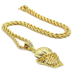 BASKET PLAIN PENDANT WITH GOLD ROPE CHAIN
