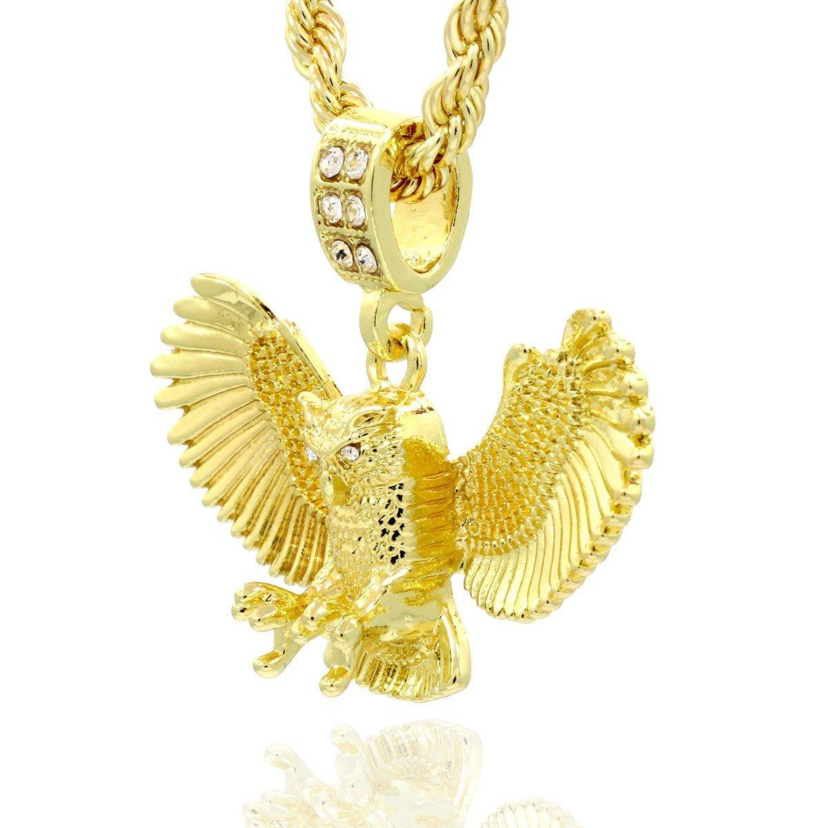 OWL PENDANT WITH GOLD ROPE CHAIN