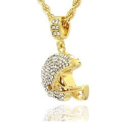 HELMET PENDANT WITH GOLD ROPE CHAIN