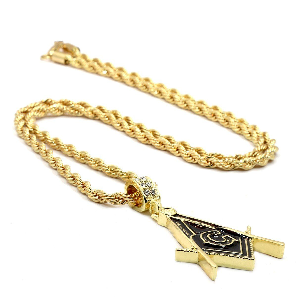 MASON PENDANT WITH GOLD ROPE CHAIN