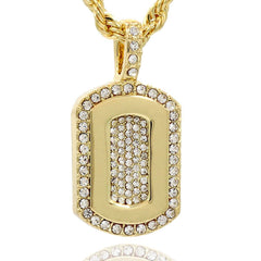 DOG TAG PENDANT WITH GOLD ROPE CHAIN