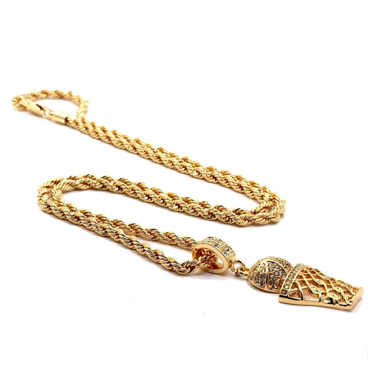 BASKET BALL PENDANT WITH GOLD ROPE CHAIN