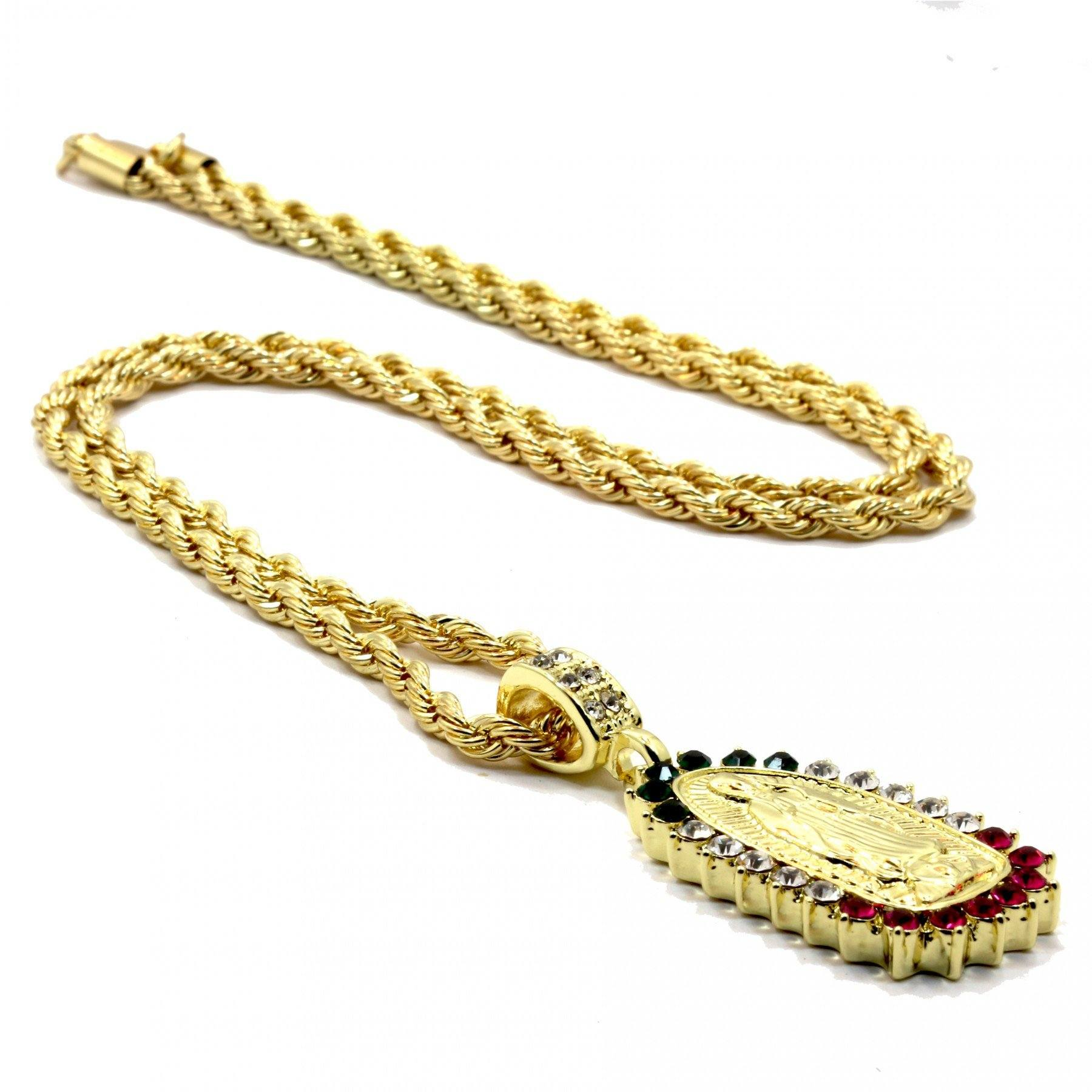 LUPE COLOR CZ PENDANT WITH GOLD ROPE CHAIN