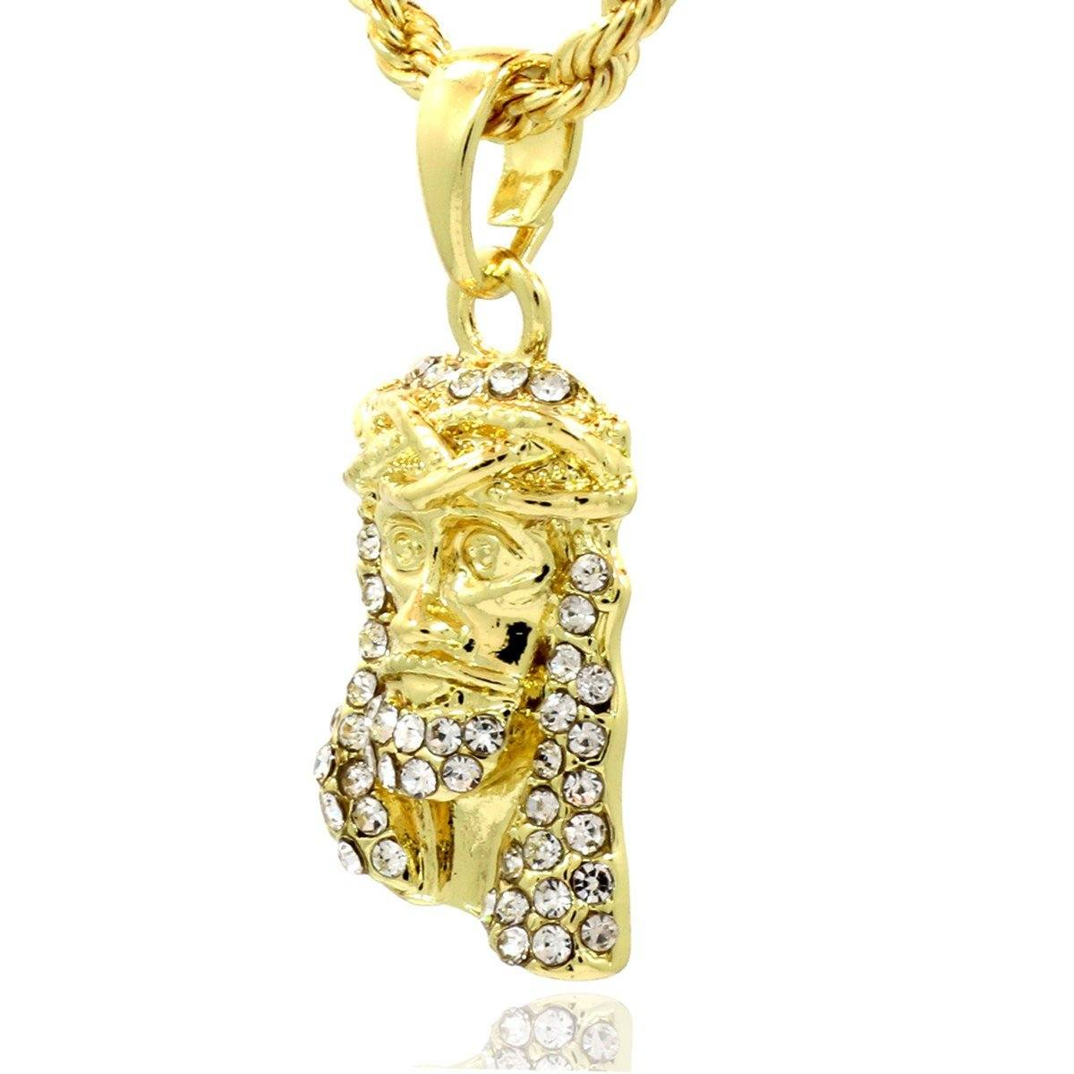 MINI JESUS PENDANT WITH GOLD ROPE CHAIN