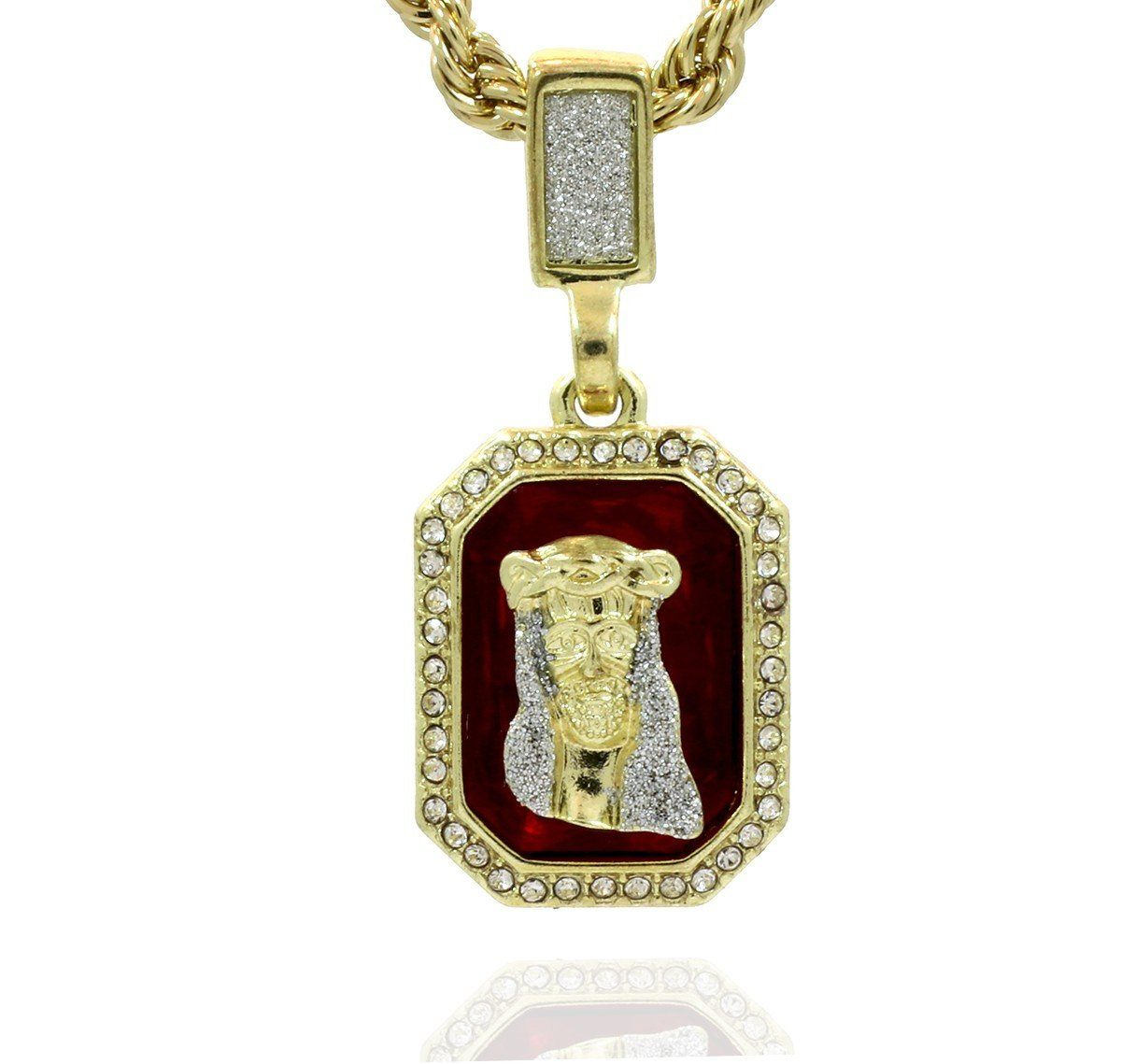 RUBY JESUS PENDANT WITH GOLD ROPE CHAIN
