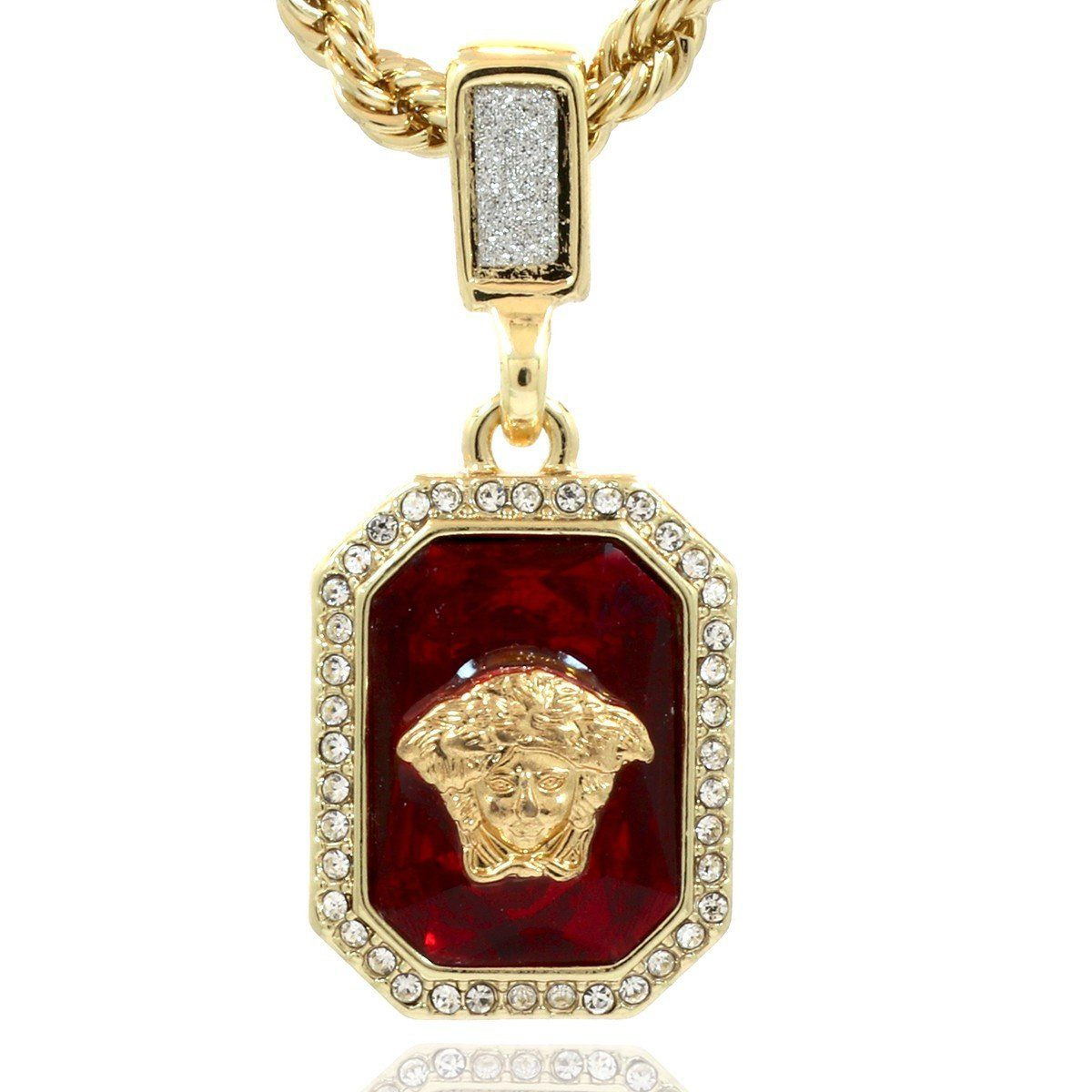 plated ruby bling square out silver rhinestone necklace set iced red pendant hip product gold discount