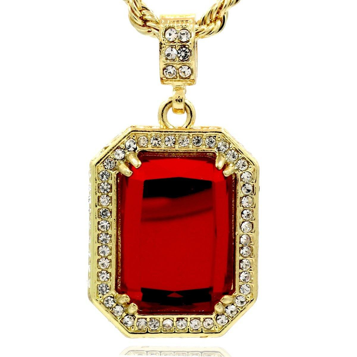 RED RUBY PENDANT WITH GOLD ROPE CHAIN