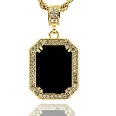 BLACK RUBY PENDANT WITH GOLD ROPE CHAIN