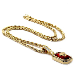 RED RUBY MEDUSA PENDANT WITH GOLD ROPE CHAIN