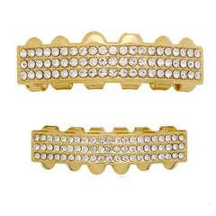 GRILLZ SET GOLD 3 ROW CLEAR