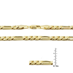 "14K GOLD FINISH 9MM/8.""INCHES WIDE FIGARO LINK BRACELET"