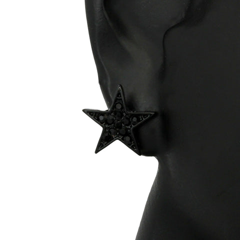 Cz STAR BLACK FILLED EARRINGS
