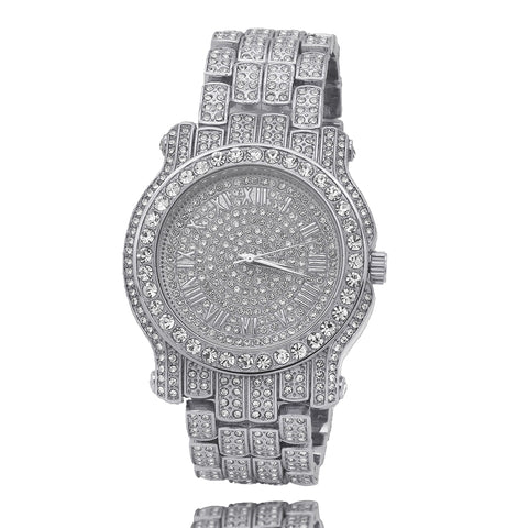 Silver Fully Ice Out Techno Pave Roman Numbers Watch