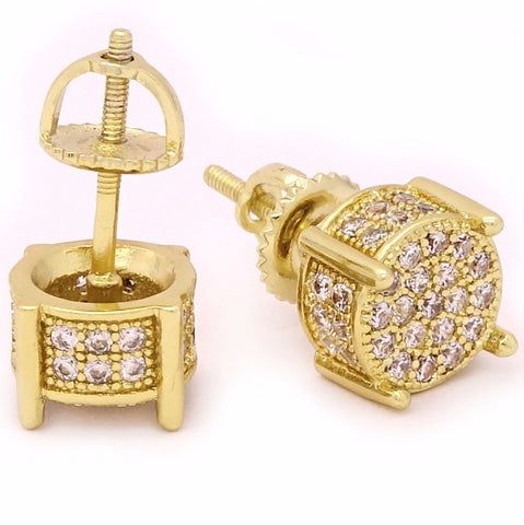 Screw Back Gold Tone Cz Micro Pave
