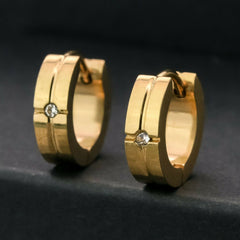 AAA Small Stone 18k Gold Stainless Steel Earring