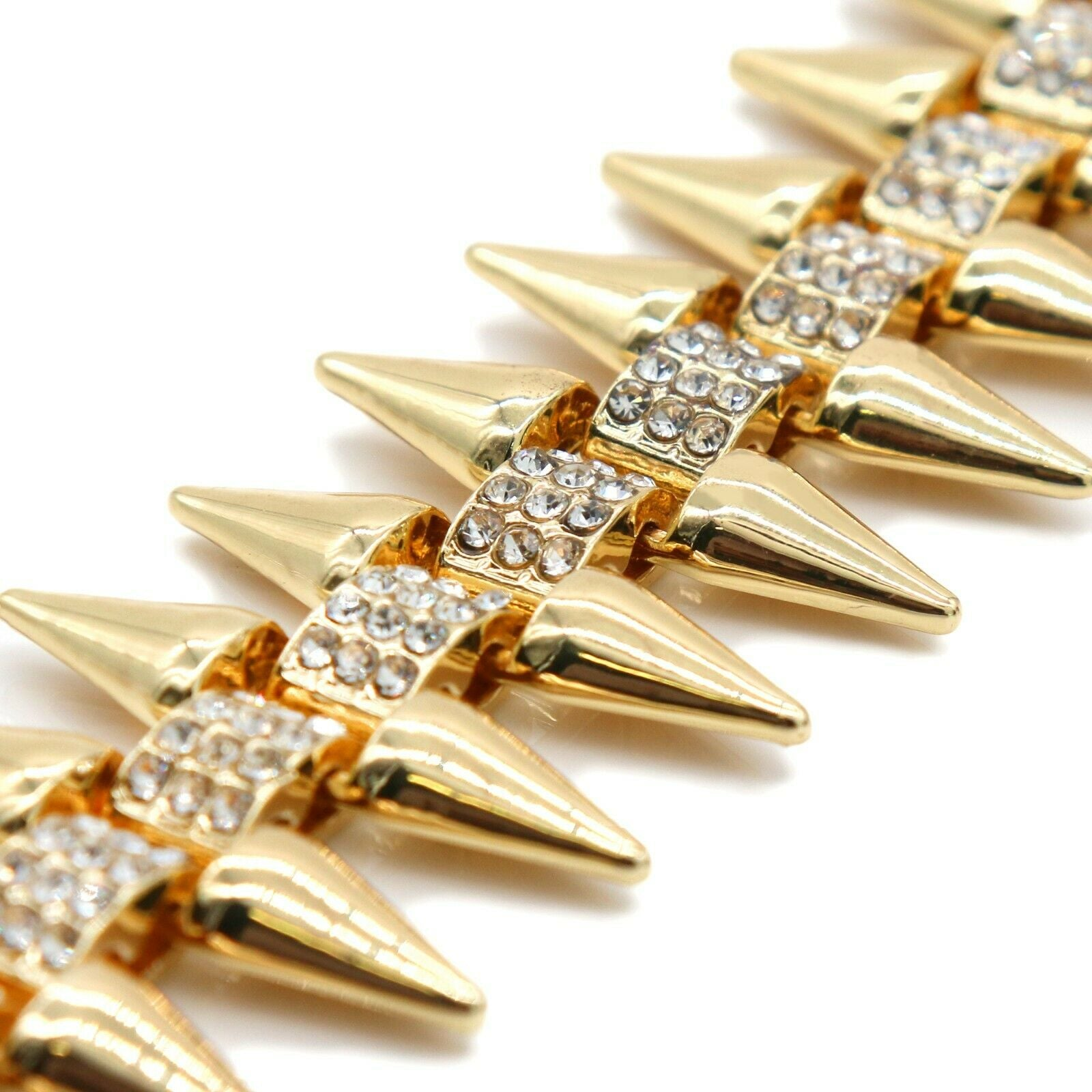 "High Fashion Gold Plated AAA Spiky Chain Tennis Chains & Cz ""NO CAP"" Pendant"