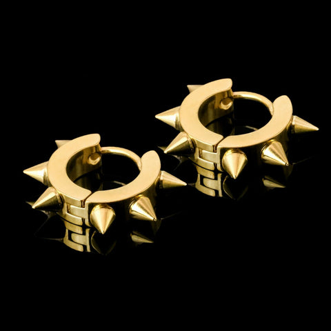 Small Spiked 18k Gold Stainless Steel Plain Earring