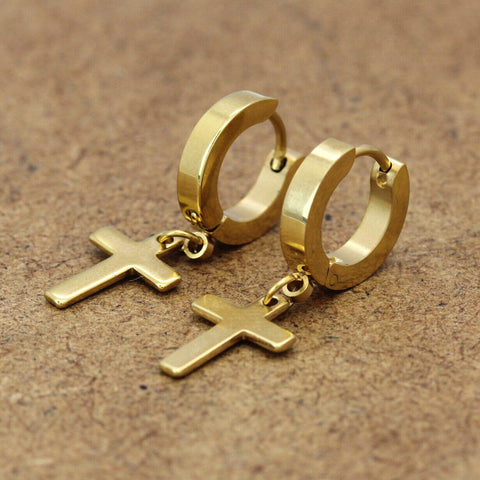 Gold Stainless Steel Plain Cross Dangle