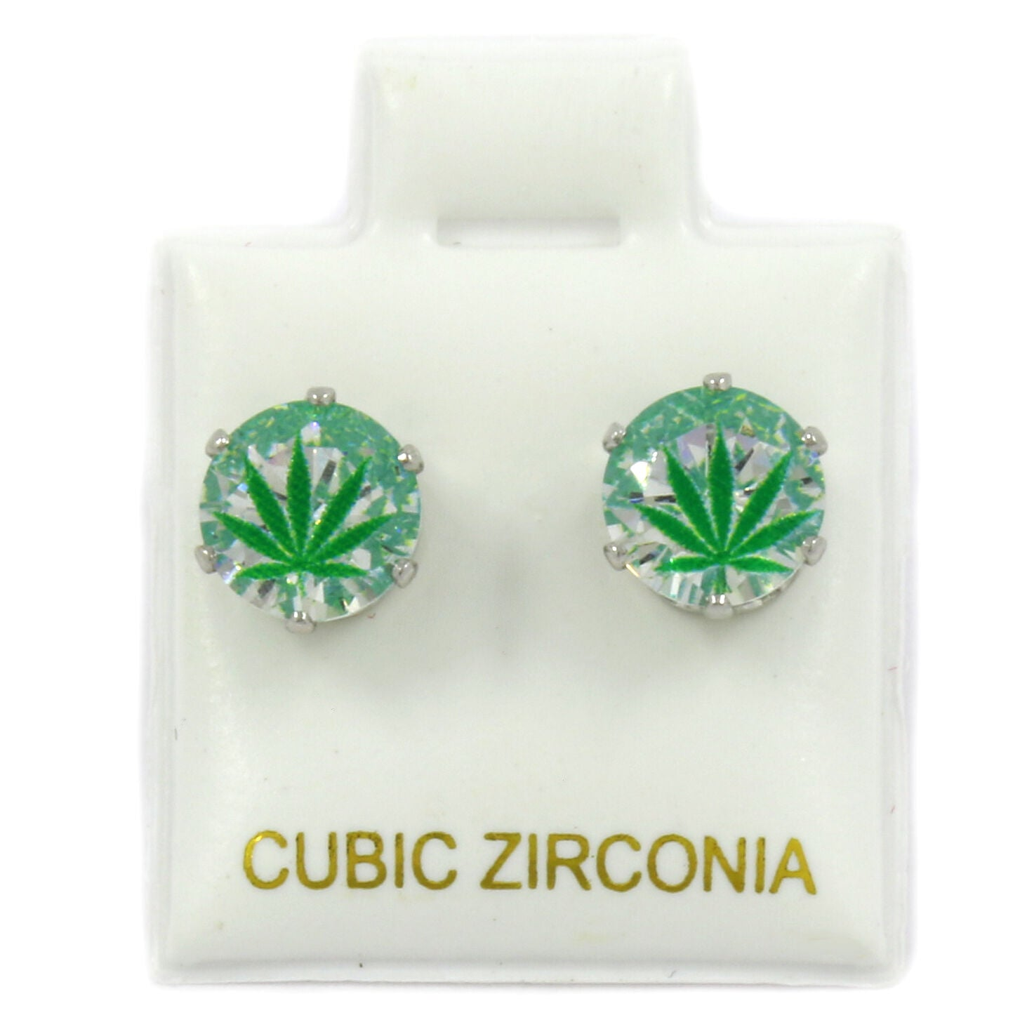Silver Cz Green Marijuana Stamp