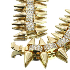 High Fashion Gold Plated AAA Spiky Tennis Chains & Cz Space Man Astronaut Pendant