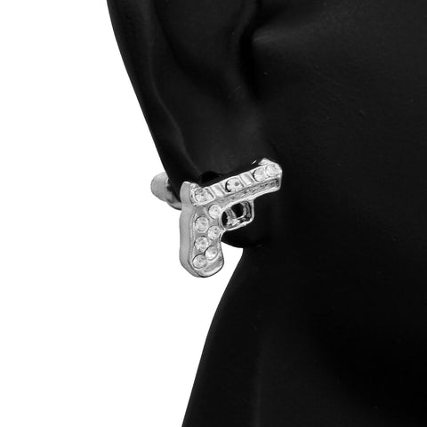 Cz Pistol SILVER FILLED EARRINGS