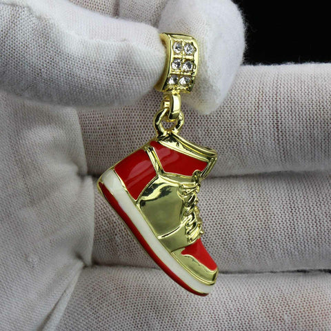 "Red Retro Shoe 14k Gold Pendant 20"" Inch 4mm Rope Choker Chain"