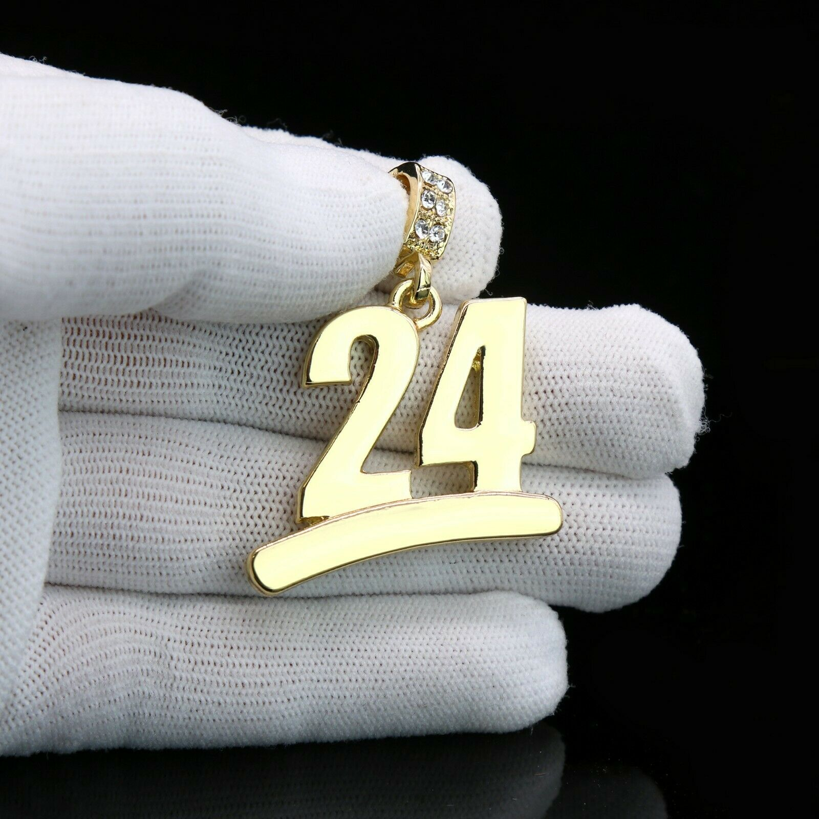 Gold #24 Jump Man Basketball Pendant with Rope Chain