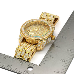 Gold Fully Ice Out Praying Hand Watch