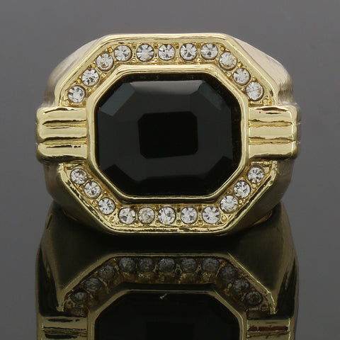 GOLD CZ BLACK RUBY