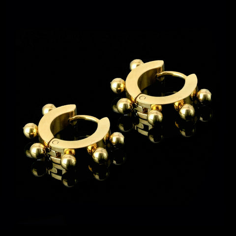 Small Beads 18k Gold Stainless Steel Plain Earring