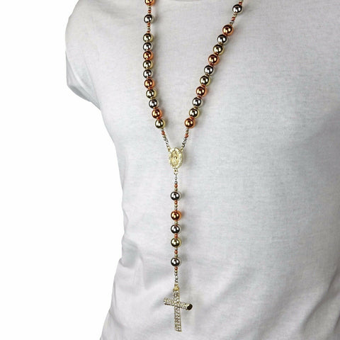 3 TONE ROSE GOLD, SILVER & GOLD 15mm  GUADALUPE ROSARY