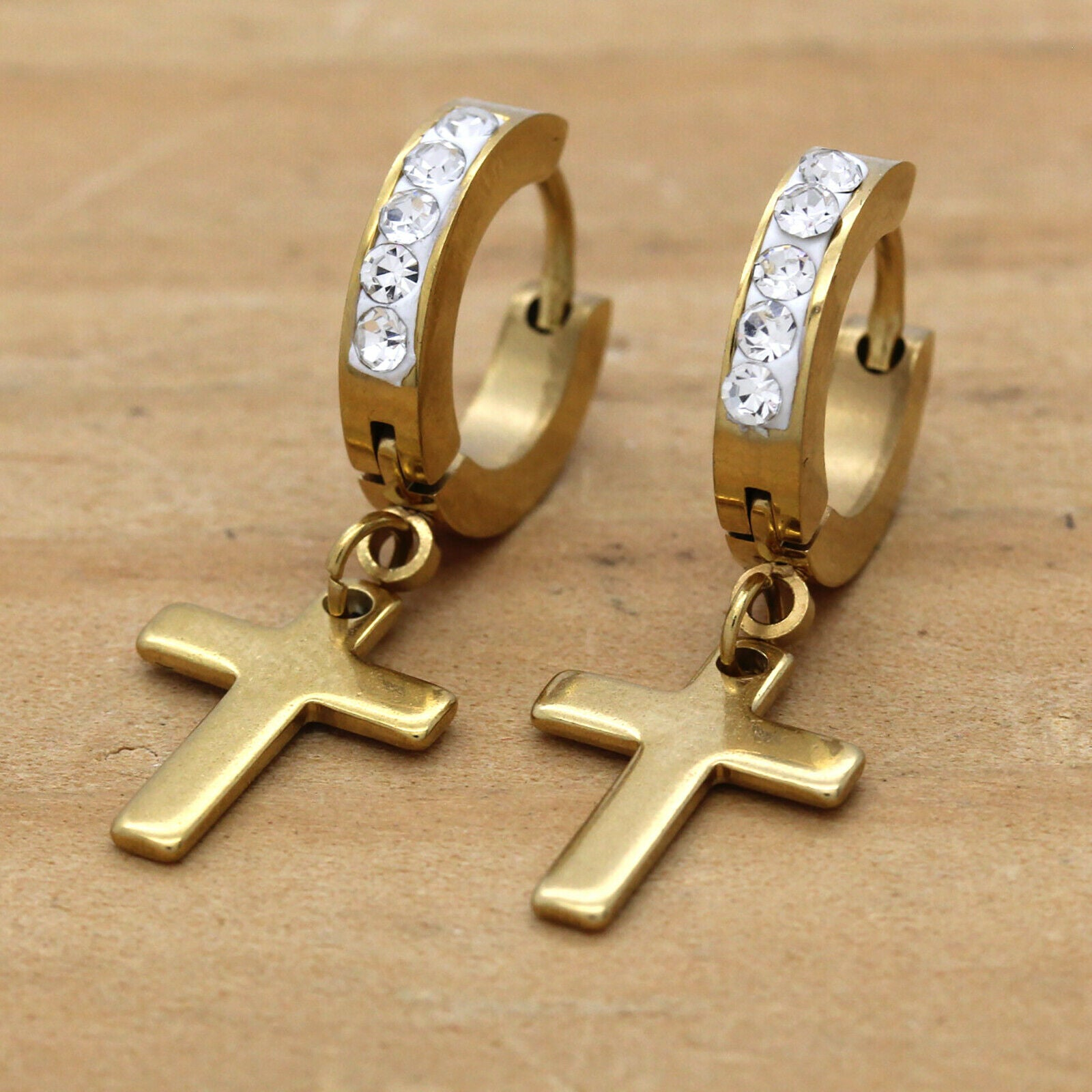 Cz Huggie Hoop Cross Dangle 1 Row GOLD STAINLESS STEEL FILLED EARRINGS